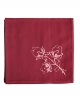 Napkin in pure cotton, burgundy raspberry colour, embroidered with lotus flowers, made in France