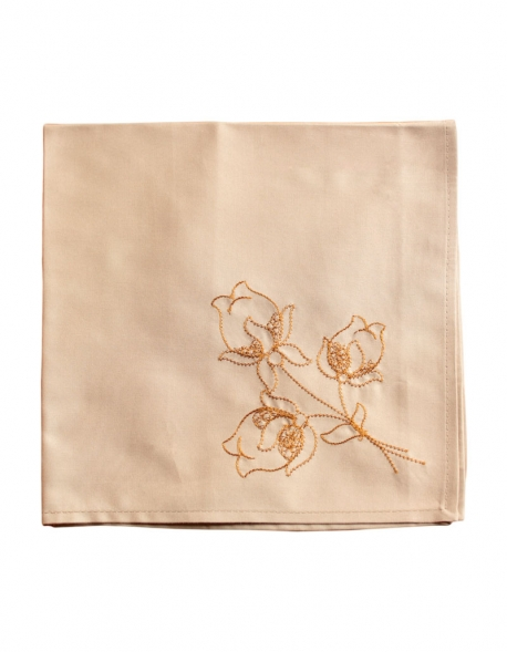 Embroidered napkin with orange thread on a light percale beige, made in France