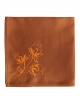 Napkin in pure cotton, rusty colour, embroidered with lotus flowers, made in France
