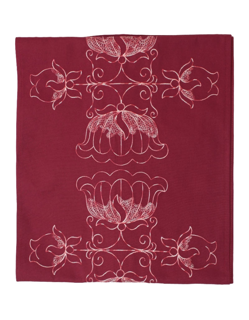 chemin de table en coton pur brod lotus prune fabriqu en france. Black Bedroom Furniture Sets. Home Design Ideas