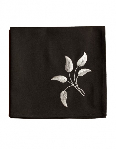 Napkin in pure cotton, black color, embroidered with flowers, made in France