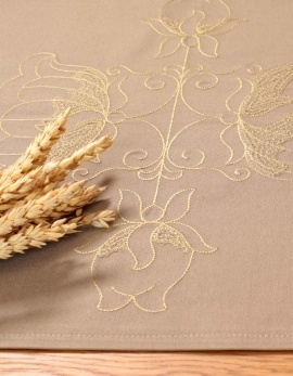 Table runner Lotus / Beige, in pure cotton. Made in France.