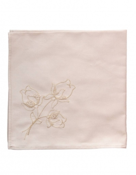Embroidered napkin with straw colour thread on a light percale beige, made in France