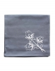 Napkin in pure cotton, grey color, embroidered with lotus flowers, made in France