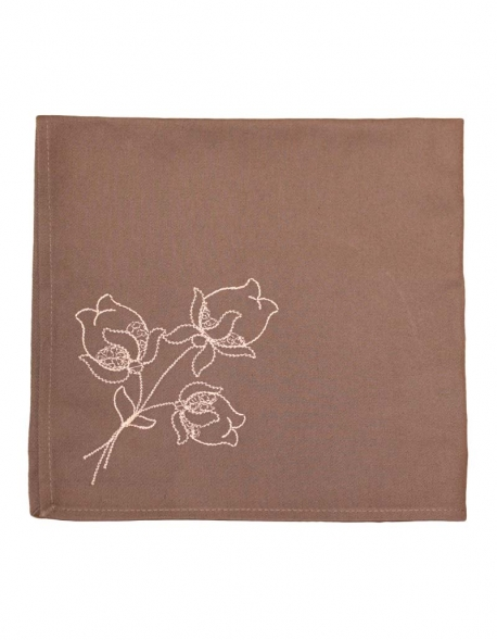 Napkin in pure cotton, dark beige color, embroidered with lotus flowers, made in France