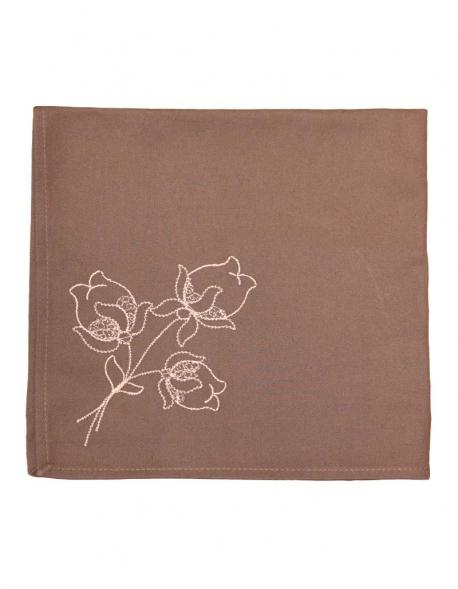 Serviette en coton pur taupe, brodée de fleurs de lotus, confectionnée en France