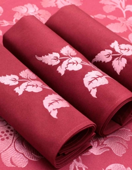 Napkin in pure cotton, burgundy color, embroidered with silver leaves, made in France
