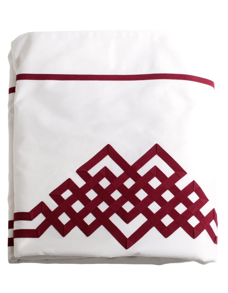 Housse de couette aurore n 24 en satin de coton blanc et for Housse de couette beige et rouge