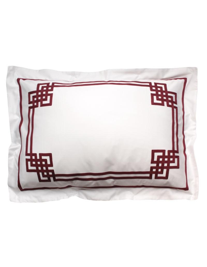 taie d 39 oreiller rectangul aurore n 24 en satin de coton et ruban rubis. Black Bedroom Furniture Sets. Home Design Ideas