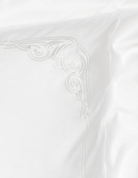 taie d'oreiller carré ART DECO BLANC fabriqué en France satin de coton