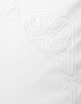 Taie d'oreiller rectangulaire brodée art déco blanc satin de coton