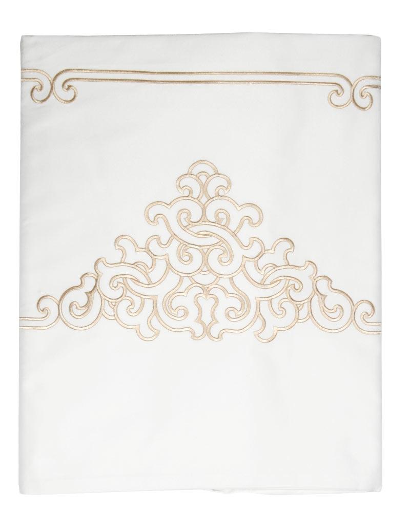drap plat brod tamir gold 270 310 satin de coton blanc brod gris. Black Bedroom Furniture Sets. Home Design Ideas
