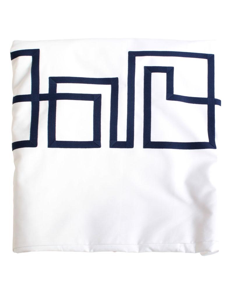 Housse de couette blue night17 en satin de coton blanc et - Housse de couette motif geometrique ...