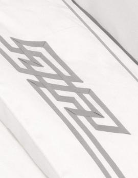 Drap plat BRUME N°3 satin de coton et ruban gris, fabriqué en France