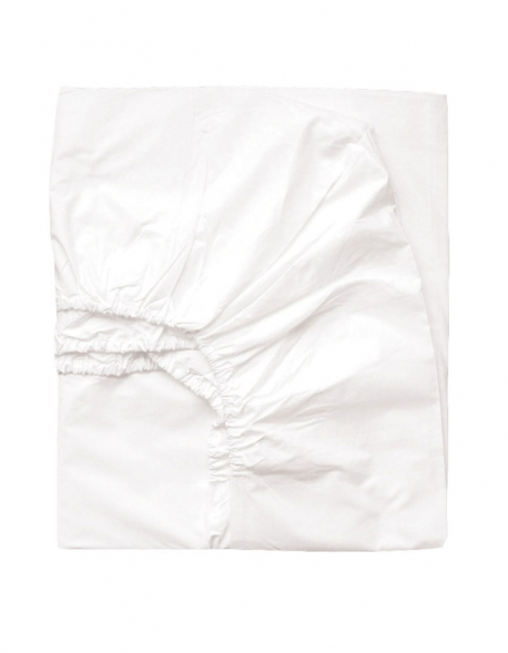 Drap housse percale de coton blanc