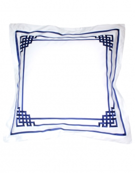 Square pillowcase BLUE NIGHT N°19 embroidered with blue ribbons