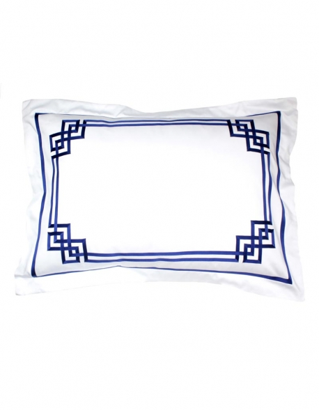 Rectangular pillowcase BLUE NIGHT N°19 with blue ribbon embroidery
