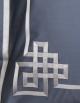 Taie d'oreiller carré AIGUE MARINE N°24 brodée de ruban gris