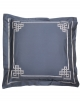 Square pillowcase AIGUE MARINE N°24 embroidered with grey satin ribbon