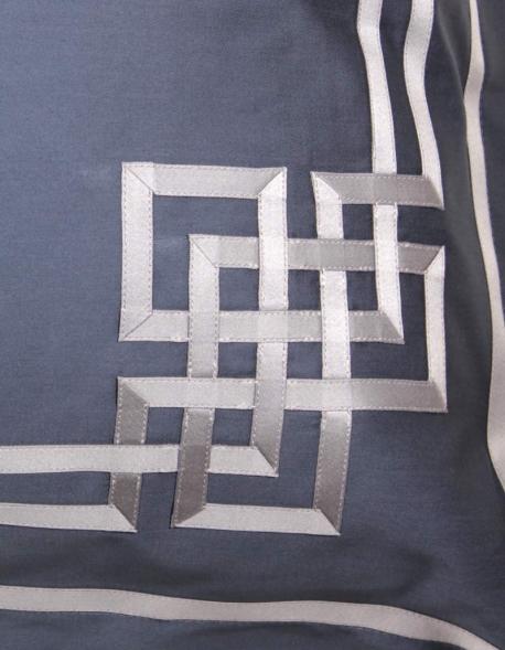 Rectangular pillowcase AQUAMARINE N°24 embroidered with grey ribbon
