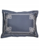 Rectangular pillowcase AQUAMARINE N°24 embroidered with grey ribbon