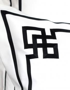 Taie d'oreiller rectangulaire brodée NIGHT&DAY N°4 en satin de coton fabriqué en France