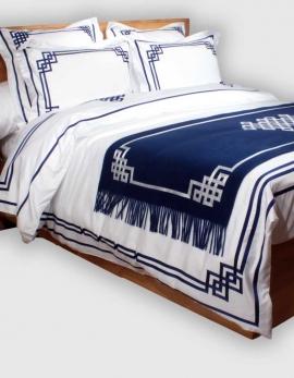 Housse de couette BLUE NIGHT N°19 brodée de ruban bleu