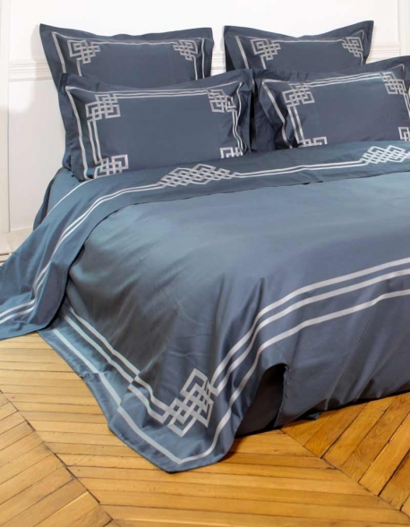 Duvet cover AQUAMARINE N°24 embroidered with gray satin ribbon