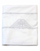 White flat sheet with grey embroidery