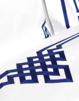 Drap plat BLUE NIGHT N°19 brodé de ruban bleu