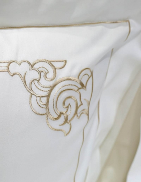 white pillow case with golden embroidery Art Nouveau