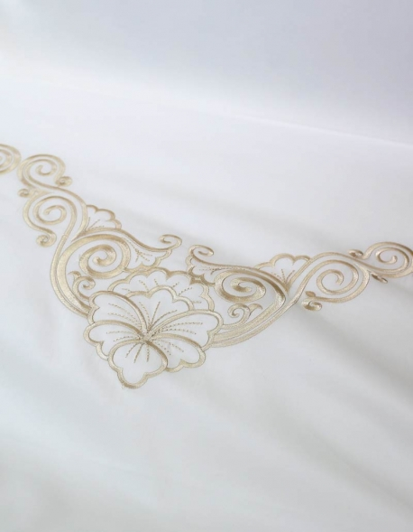 Flat sheet with gold color embroidery