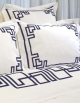 Flat sheet in white sateen of cotton, BLUE NIGHT N°17, made in France