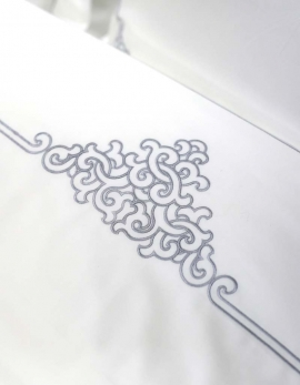 Top sheet in white satin of cotton, shiny silver grey embroidery, made in France